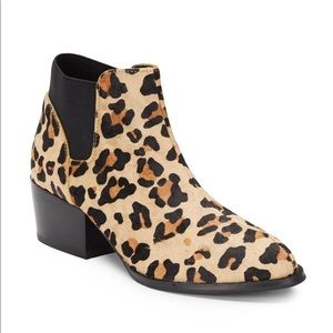 Steve Madden Palace Leopard Cow Hair Ankle Bootie